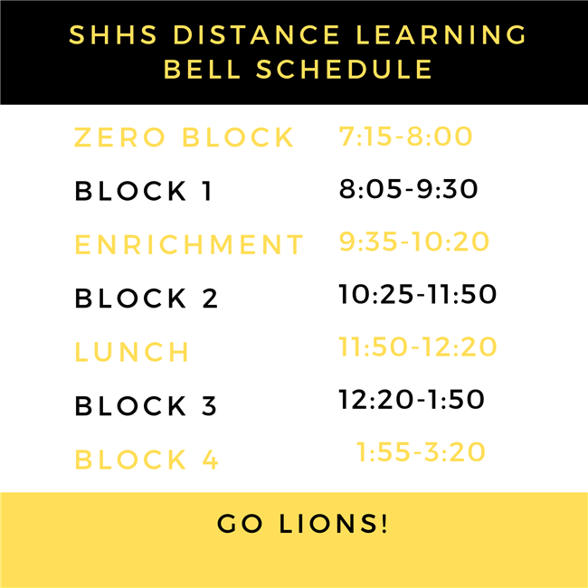 SHHS Distance Learning Bell Schedule