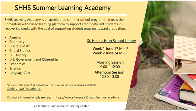 SHHS Summer Learning Academy